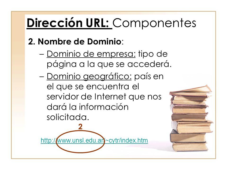 2. Nombre de Dominio : –Dominio de empresa: tipo de página a la que se accederá. –Dominio geográfico: país en el que se encuentra el servidor de Inter