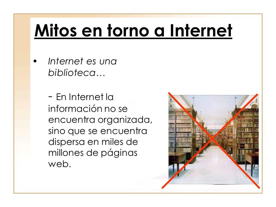 Internet es una biblioteca… - En Internet la información no se encuentra organizada, sino que se encuentra dispersa en miles de millones de páginas we