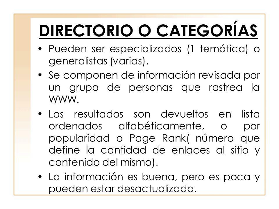 DIRECTORIO O CATEGORÍAS Pueden ser especializados (1 temática) o generalistas (varias). Se componen de información revisada por un grupo de personas q