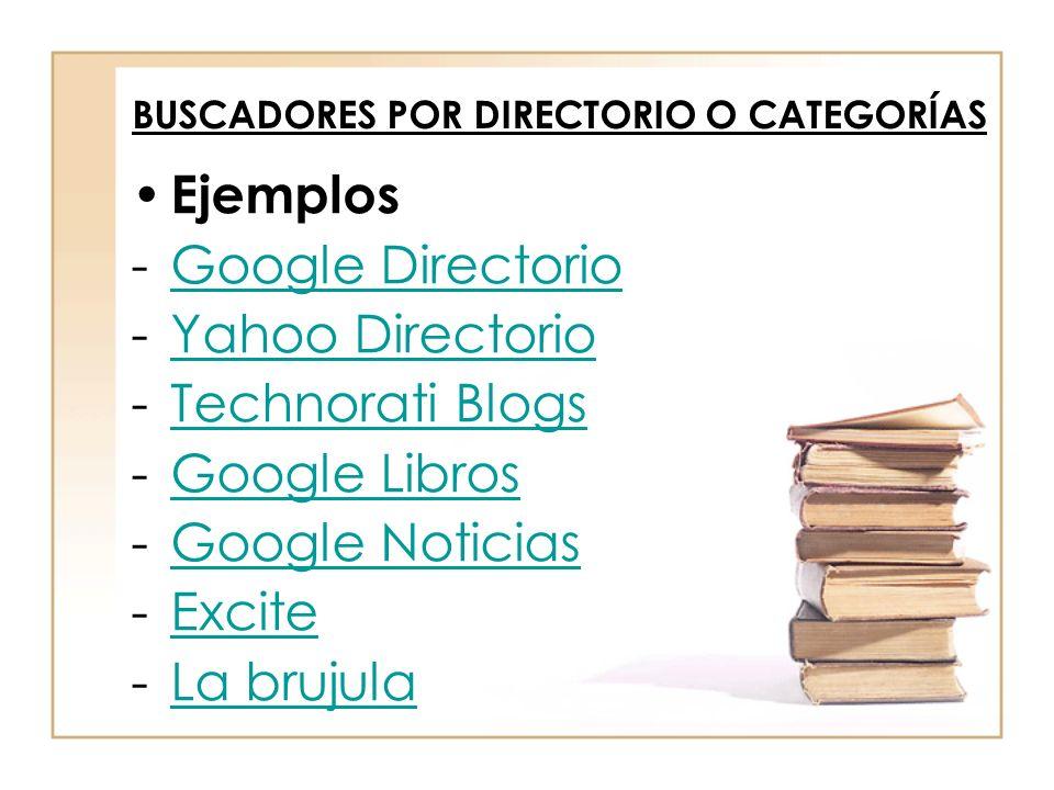 Ejemplos -Google DirectorioGoogle Directorio -Yahoo DirectorioYahoo Directorio -Technorati BlogsTechnorati Blogs -Google LibrosGoogle Libros -Google N
