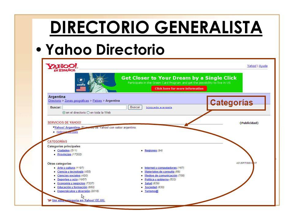 Yahoo Directorio DIRECTORIO GENERALISTA Categorías