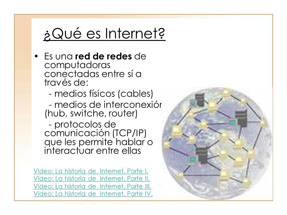 ¿Qué es Internet? Es una red de redes de computadoras conectadas entre sí a través de: - medios físicos (cables) - medios de interconexión (hub, switc