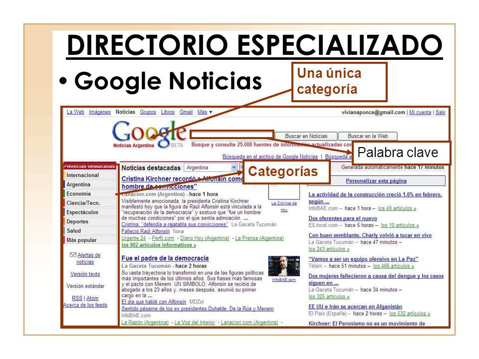 Google Noticias DIRECTORIO ESPECIALIZADO Una única categoría Categorías Palabra clave