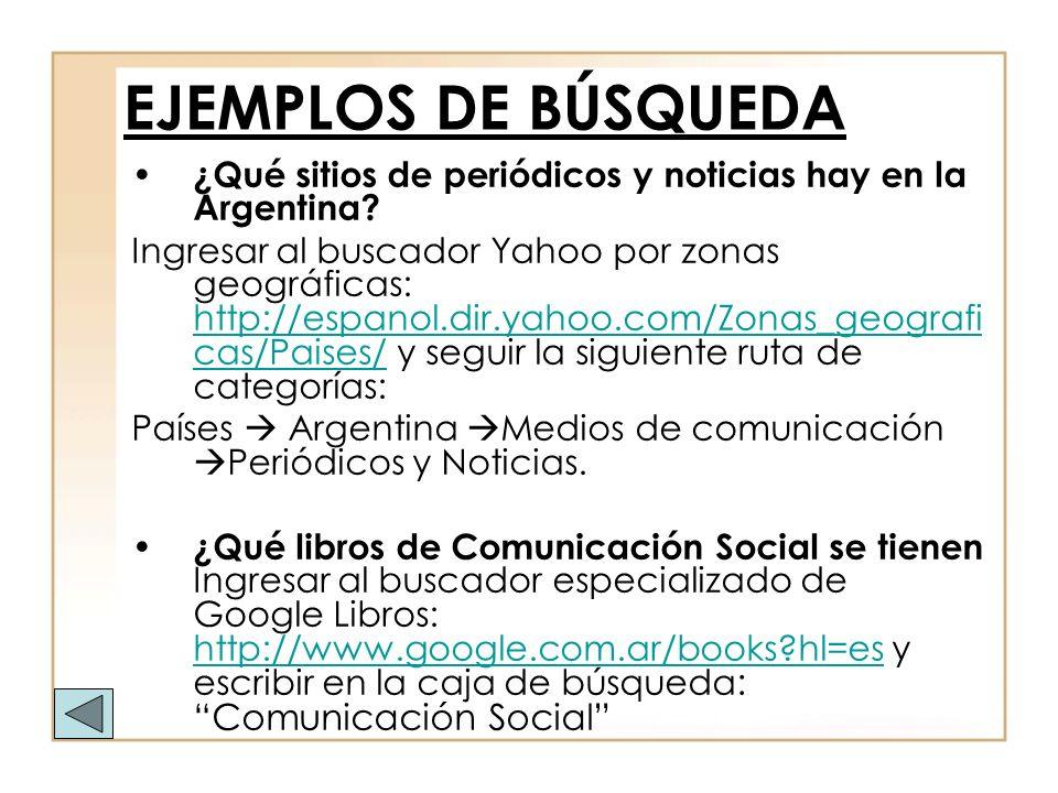 EJEMPLOS DE BÚSQUEDA ¿Qué sitios de periódicos y noticias hay en la Argentina? Ingresar al buscador Yahoo por zonas geográficas: http://espanol.dir.ya