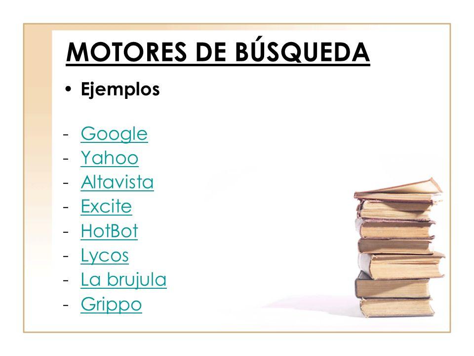 Ejemplos -GoogleGoogle -YahooYahoo -AltavistaAltavista -ExciteExcite -HotBotHotBot -LycosLycos -La brujulaLa brujula -GrippoGrippo