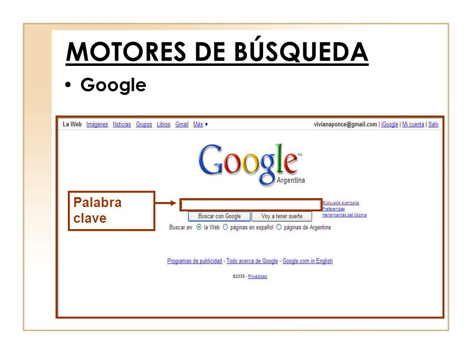 MOTORES DE BÚSQUEDA Google Palabra clave