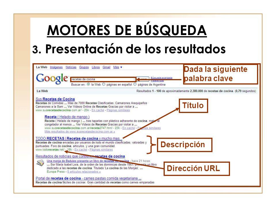 3. Presentación de los resultados MOTORES DE BÚSQUEDA Título Descripción Dirección URL Dada la siguiente palabra clave