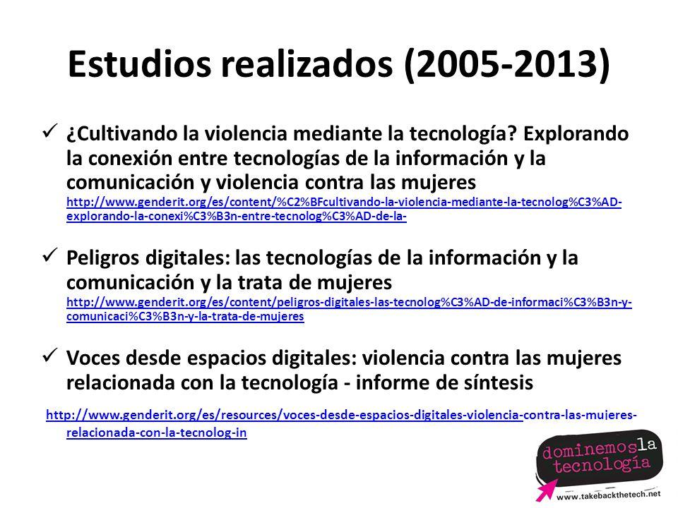 Estudios realizados (2005-2013) ¿Cultivando la violencia mediante la tecnología.