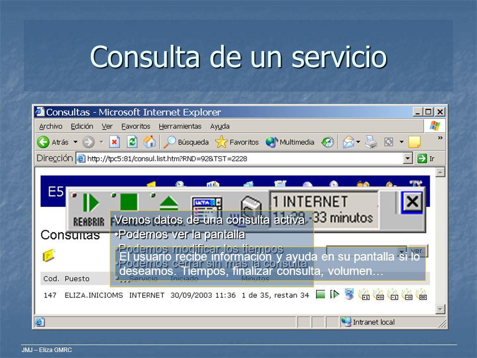 JMJ – Eliza GMRC Consulta de un servicio Vemos datos de una consulta activa Podemos ver la pantallaPodemos ver la pantalla Podemos modificar los tiemp