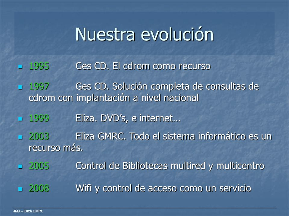 JMJ – Eliza GMRC Nuestra evolución 1995Ges CD. El cdrom como recurso 1995Ges CD. El cdrom como recurso 1997Ges CD. Solución completa de consultas de c