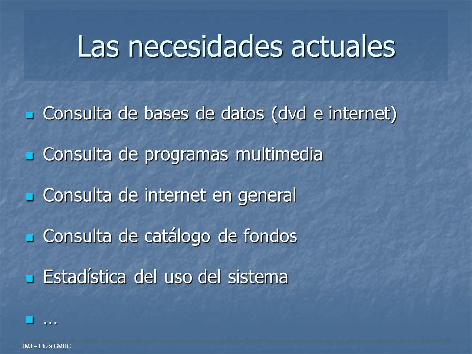 JMJ – Eliza GMRC Las necesidades actuales Consulta de bases de datos (dvd e internet) Consulta de bases de datos (dvd e internet) Consulta de programa