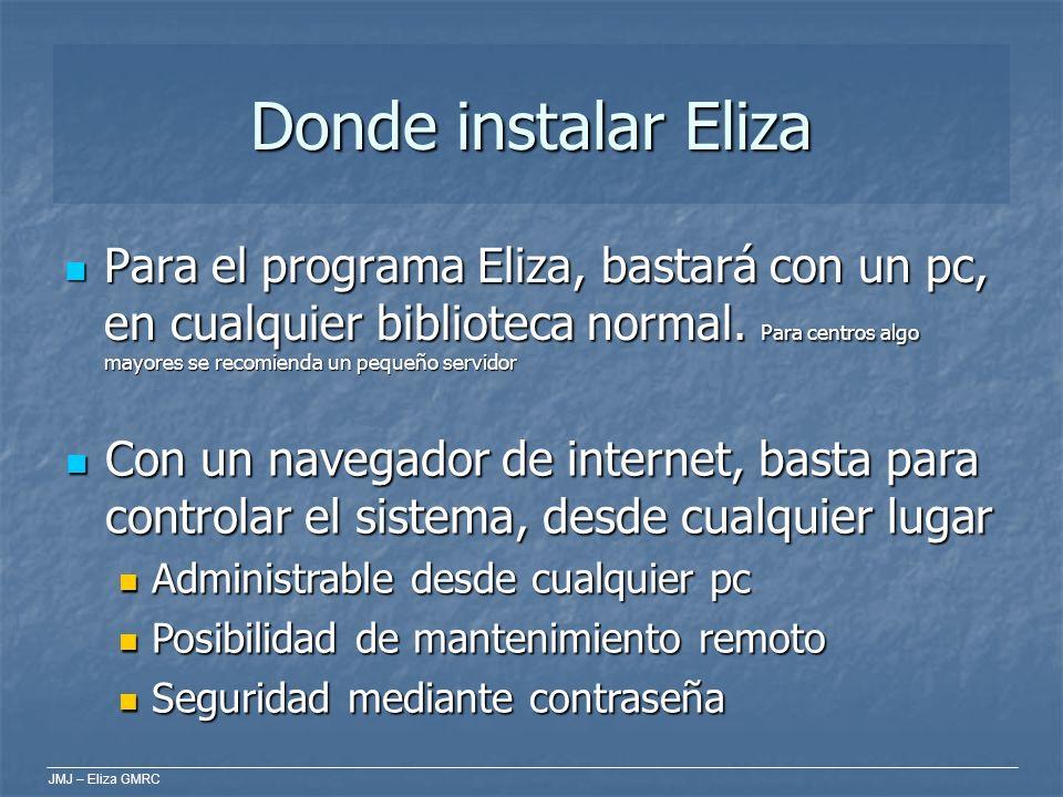 JMJ – Eliza GMRC Donde instalar Eliza Para el programa Eliza, bastará con un pc, en cualquier biblioteca normal. Para centros algo mayores se recomien