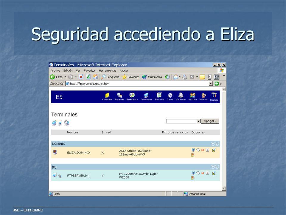 JMJ – Eliza GMRC Elementos Vocabulario de Eliza GMRC Vocabulario de Eliza GMRC Servicios: son lo que ofrecemos a los usuarios; programas, internet… Servicios: son lo que ofrecemos a los usuarios; programas, internet… Consultas: cada uso de un servicio del sistema es una consulta.
