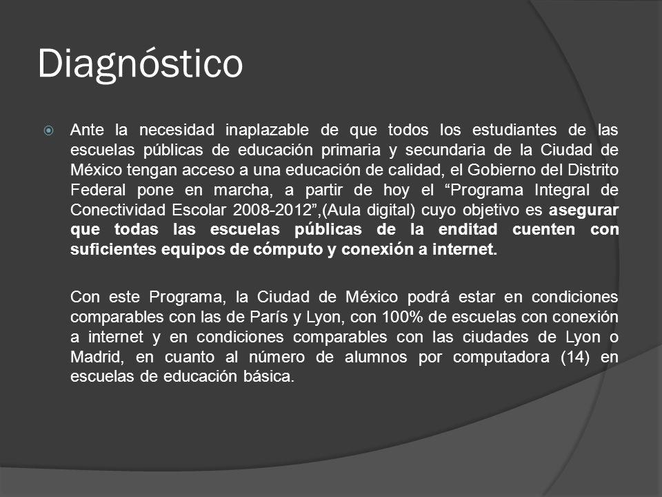 Diagnóstico Ante la necesidad inaplazable de que todos los estudiantes de las escuelas públicas de educación primaria y secundaria de la Ciudad de Méx