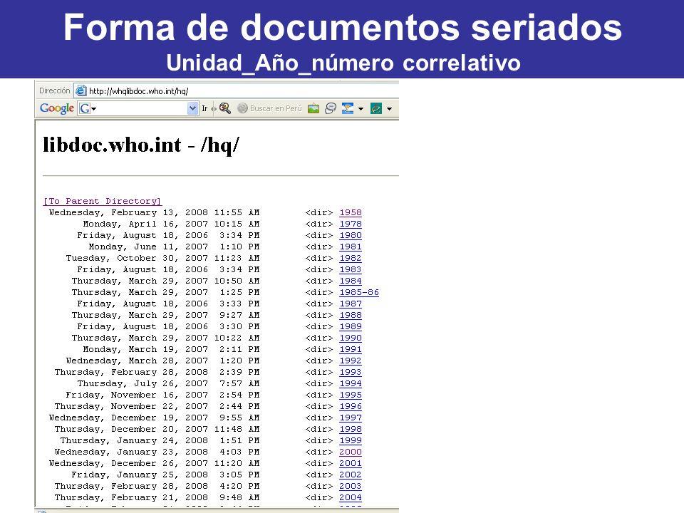 Forma de documentos seriados Unidad_Año_número correlativo