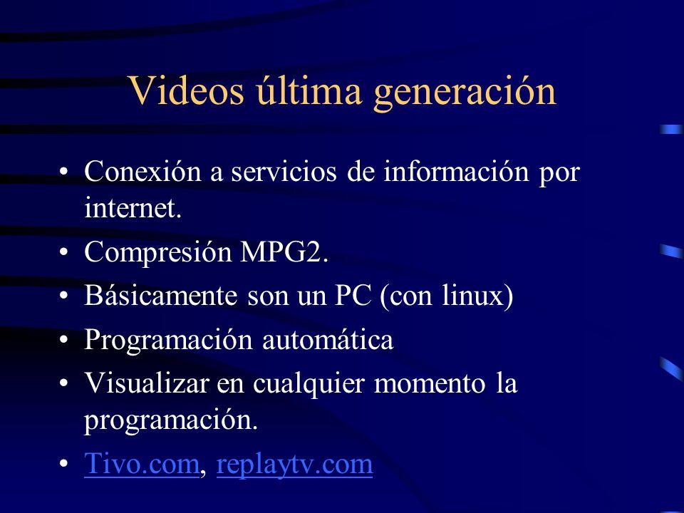 Videos última generación Conexión a servicios de información por internet. Compresión MPG2. Básicamente son un PC (con linux) Programación automática
