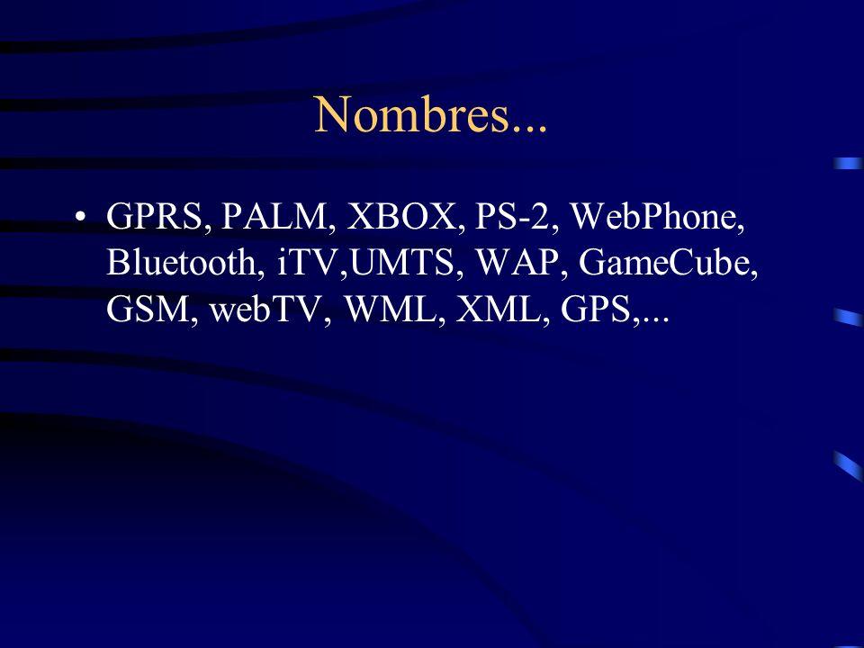 Nombres... GPRS, PALM, XBOX, PS-2, WebPhone, Bluetooth, iTV,UMTS, WAP, GameCube, GSM, webTV, WML, XML, GPS,...