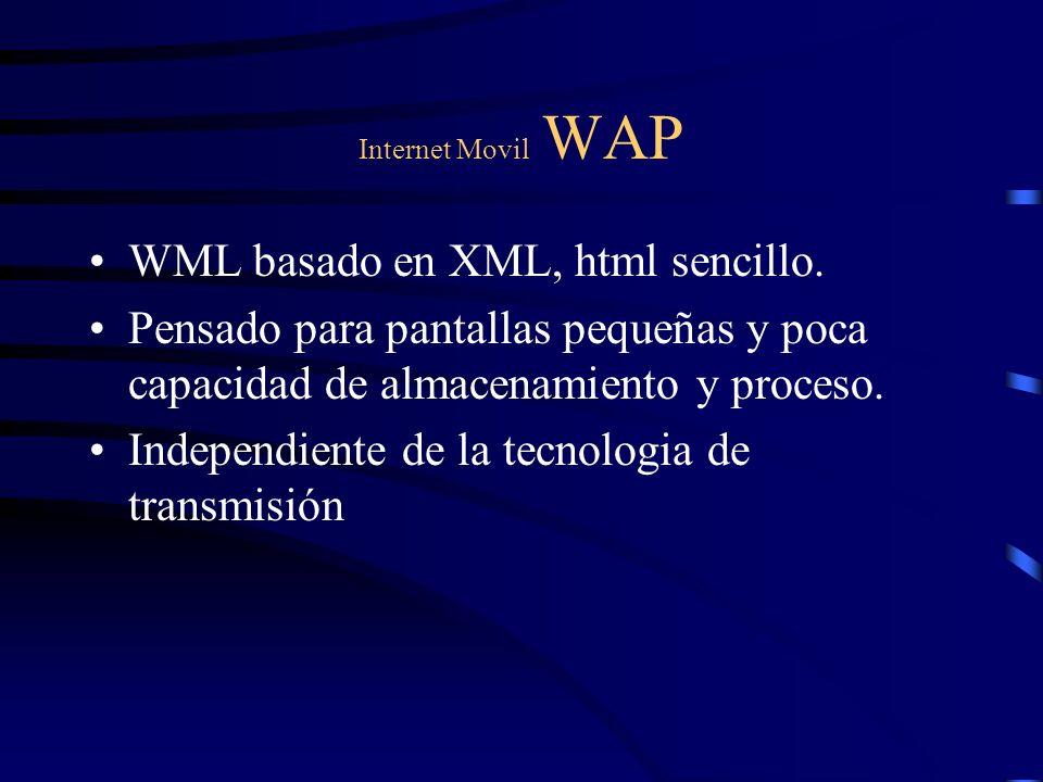 Internet Movil WAP WML basado en XML, html sencillo. Pensado para pantallas pequeñas y poca capacidad de almacenamiento y proceso. Independiente de la