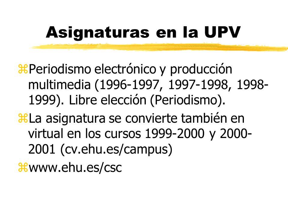 Asignaturas en la UPV zPeriodismo electrónico y producción multimedia (1996-1997, 1997-1998, 1998- 1999).
