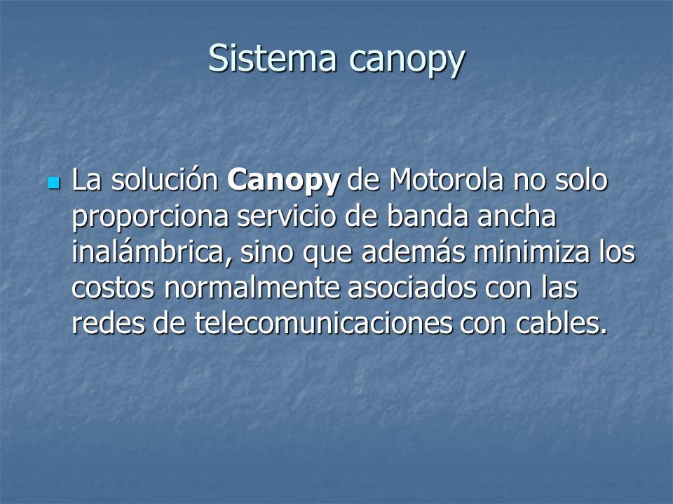 Sistema canopy La solución Canopy de Motorola no solo proporciona servicio de banda ancha inalámbrica, sino que además minimiza los costos normalmente