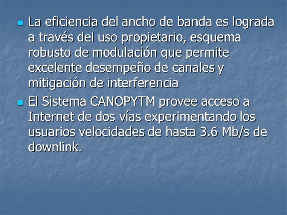 La eficiencia del ancho de banda es lograda a través del uso propietario, esquema robusto de modulación que permite excelente desempeño de canales y m