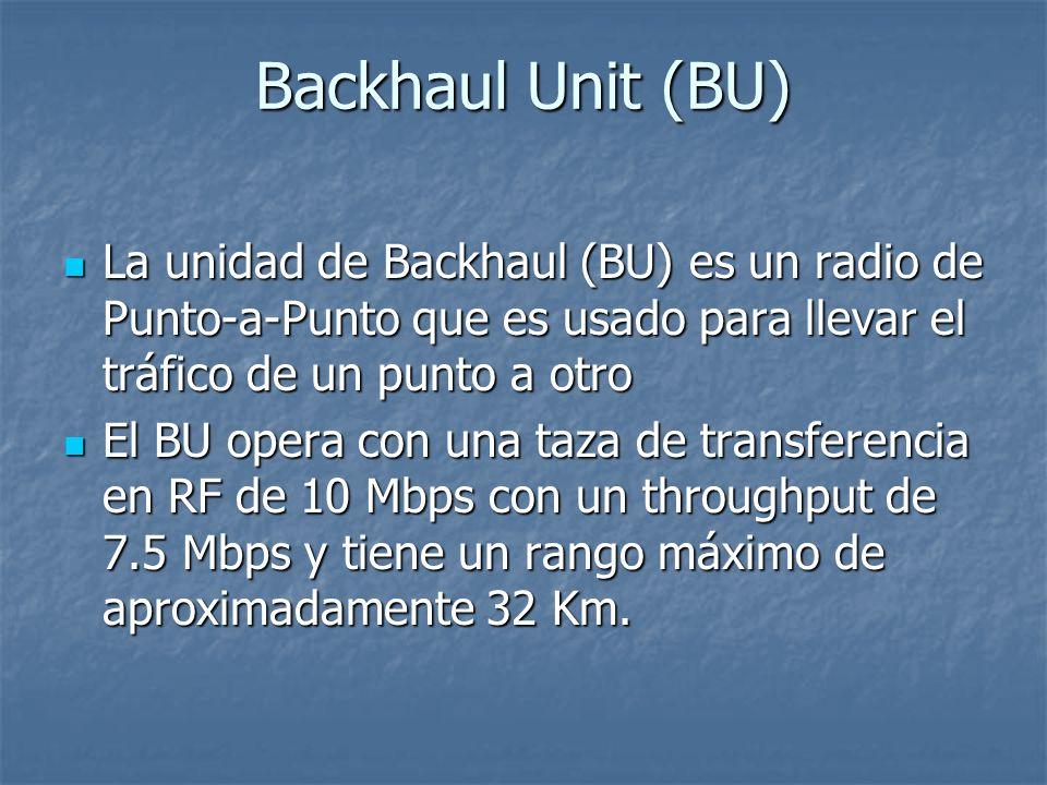 Backhaul Unit (BU) La unidad de Backhaul (BU) es un radio de Punto-a-Punto que es usado para llevar el tráfico de un punto a otro La unidad de Backhau