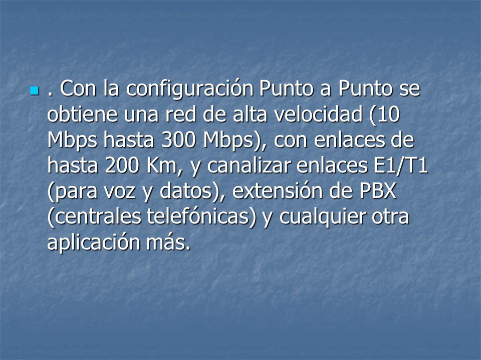 . Con la configuración Punto a Punto se obtiene una red de alta velocidad (10 Mbps hasta 300 Mbps), con enlaces de hasta 200 Km, y canalizar enlaces E