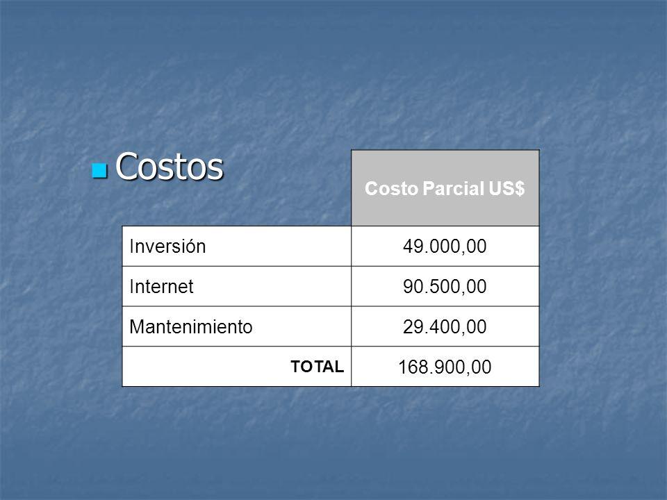 Costo Parcial US$ Inversión49.000,00 Internet90.500,00 Mantenimiento29.400,00 TOTAL 168.900,00 Costos Costos