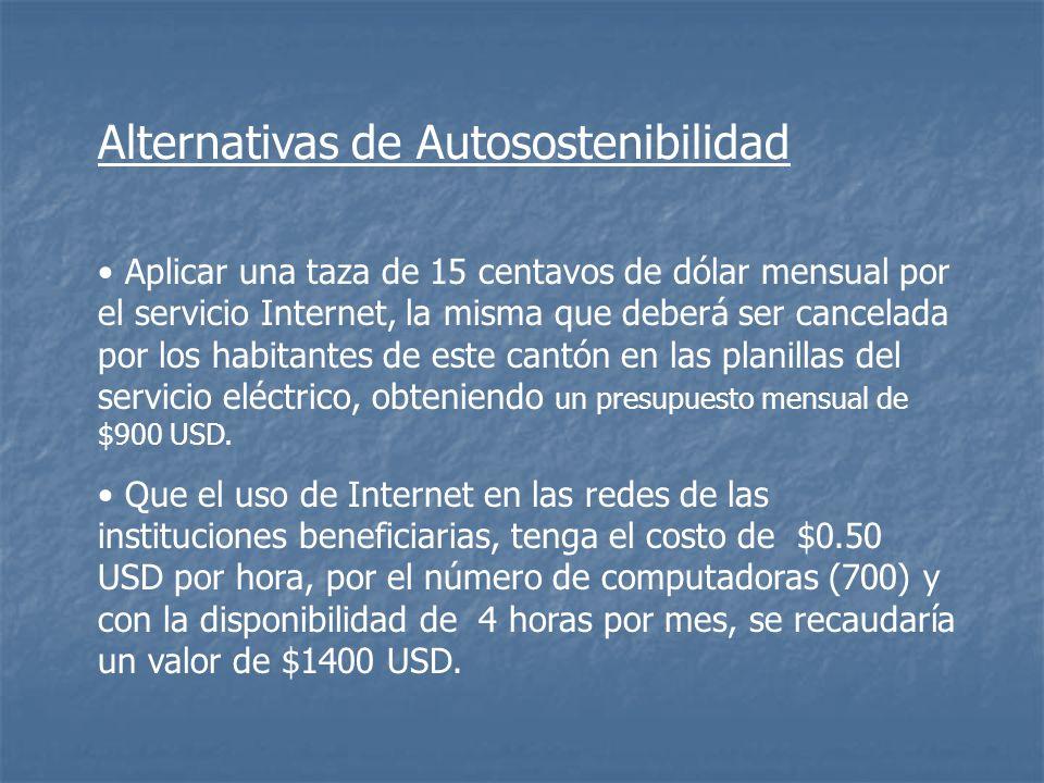 Aplicar una taza de 15 centavos de dólar mensual por el servicio Internet, la misma que deberá ser cancelada por los habitantes de este cantón en las