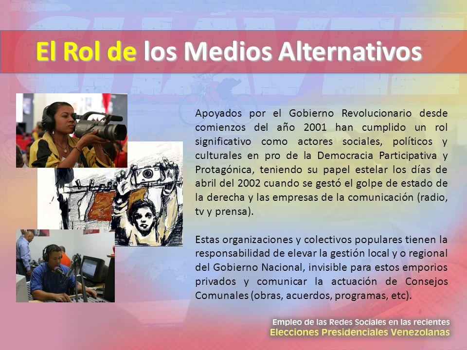 El Rol de los Medios Alternativos Apoyados por el Gobierno Revolucionario desde comienzos del año 2001 han cumplido un rol significativo como actores