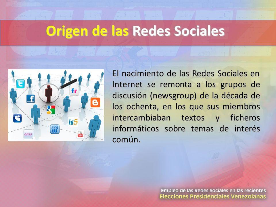 El nacimiento de las Redes Sociales en Internet se remonta a los grupos de discusión (newsgroup) de la década de los ochenta, en los que sus miembros