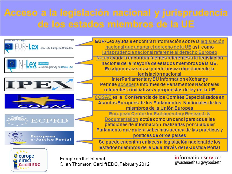 Europe on the Internet © Ian Thomson, Cardiff EDC, February 2012 EU information review of the year 2010 Acceso a la legislación nacional y jurispruden