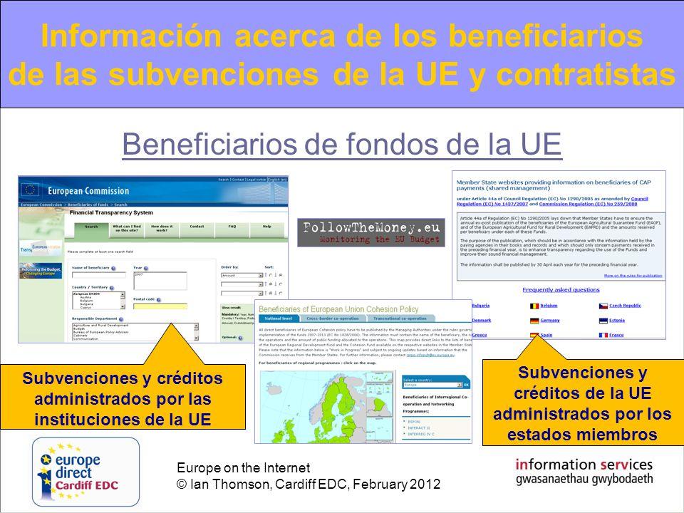 Europe on the Internet © Ian Thomson, Cardiff EDC, February 2012 Beneficiarios de fondos de la UE Subvenciones y créditos administrados por las instit