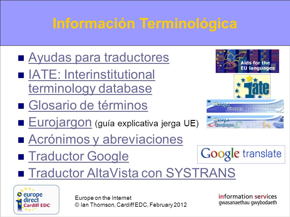 "La presentaci�n ""Europe on the Internet Europa en Internet Una ..."