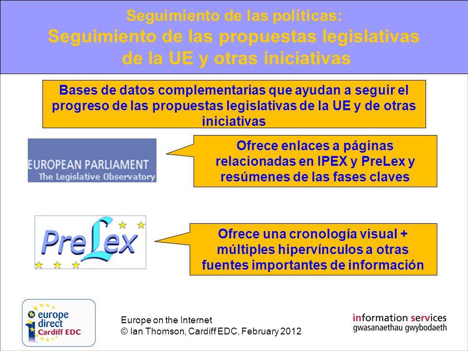 Europe on the Internet © Ian Thomson, Cardiff EDC, February 2012 Ofrece enlaces a páginas relacionadas en IPEX y PreLex y resúmenes de las fases clave