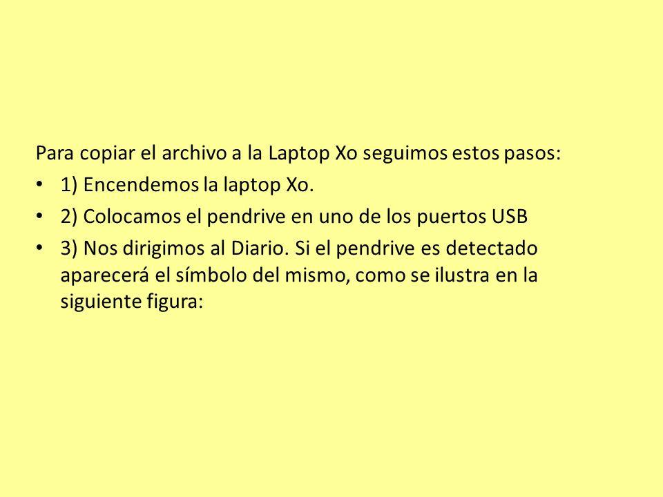 Para copiar el archivo a la Laptop Xo seguimos estos pasos: 1) Encendemos la laptop Xo.