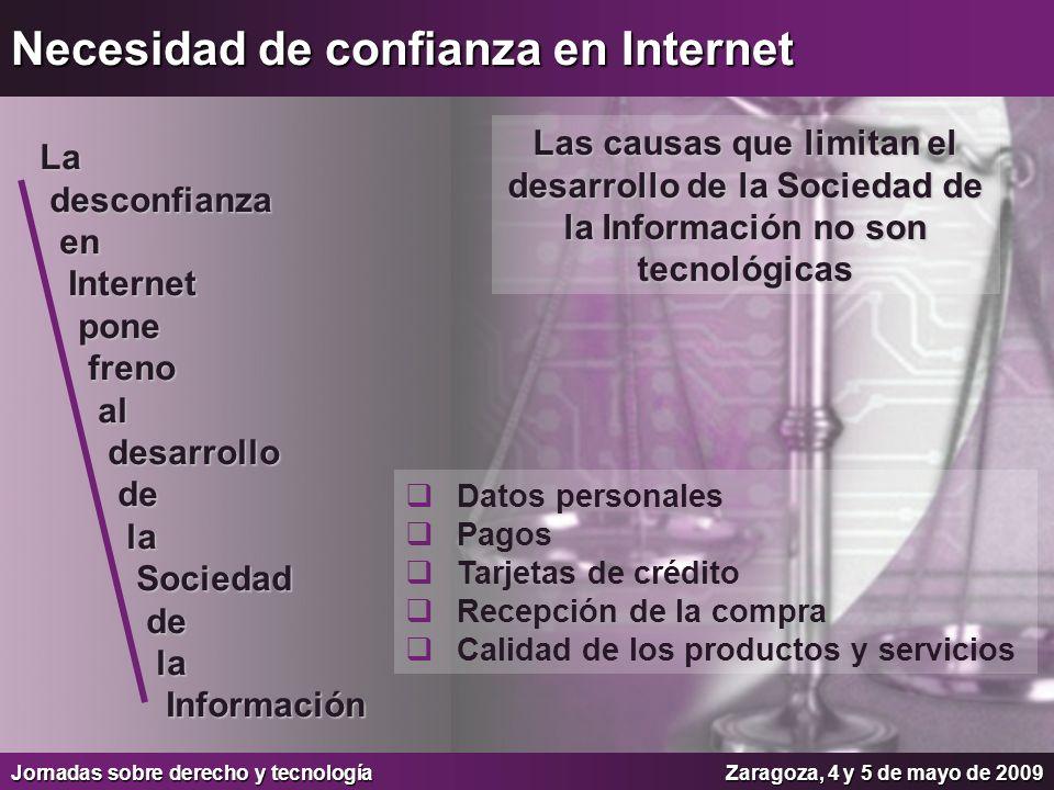 Jornadas sobre derecho y tecnologíaZaragoza, 4 y 5 de mayo de 2009 Necesidad de confianza en Internet