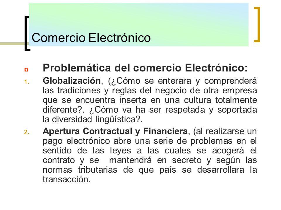 Comercio Electrónico Problemática del comercio Electrónico: 1. Globalización, (¿Cómo se enterara y comprenderá las tradiciones y reglas del negocio de
