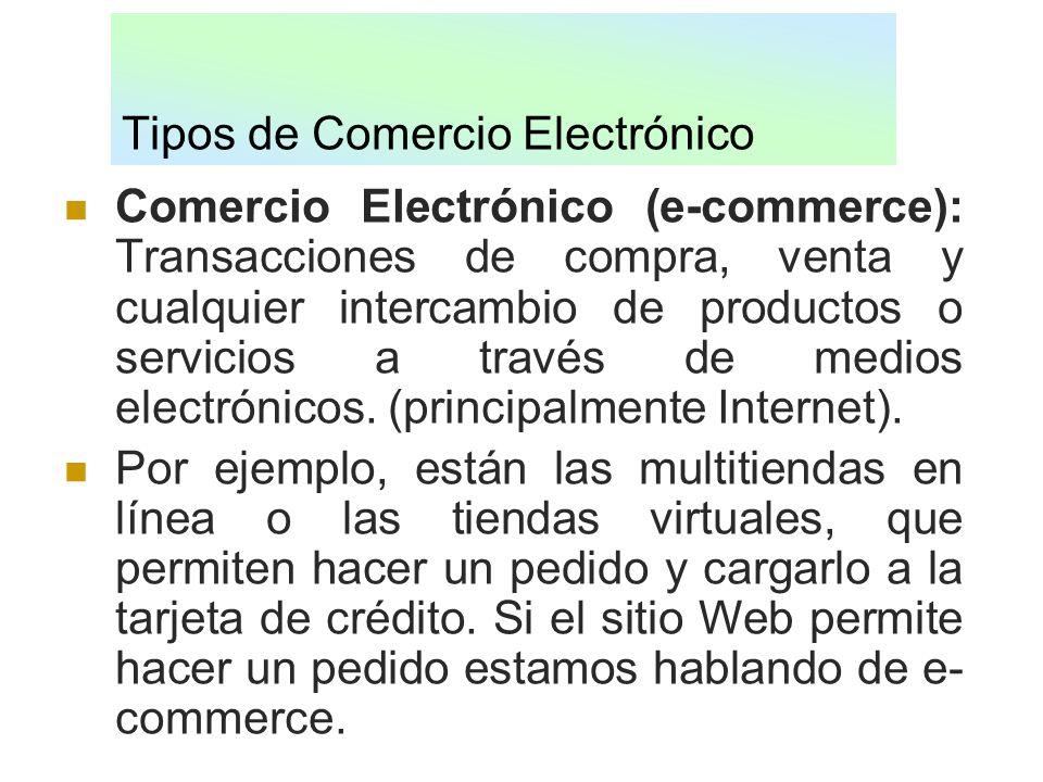 Tipos de Comercio Electrónico Comercio Electrónico (e-commerce): Transacciones de compra, venta y cualquier intercambio de productos o servicios a tra
