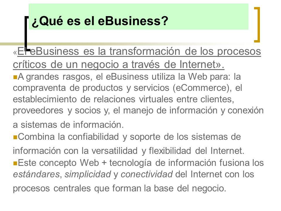 « El eBusiness es la transformación de los procesos críticos de un negocio a través de Internet». A grandes rasgos, el eBusiness utiliza la Web para: