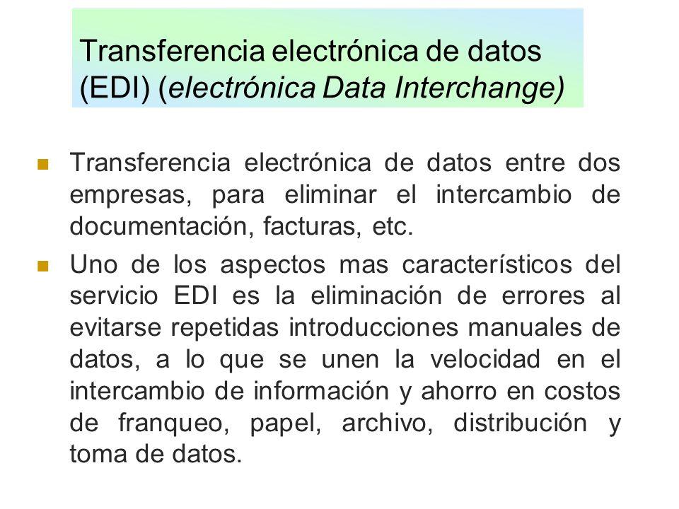 Transferencia electrónica de datos (EDI) (electrónica Data Interchange) Transferencia electrónica de datos entre dos empresas, para eliminar el interc