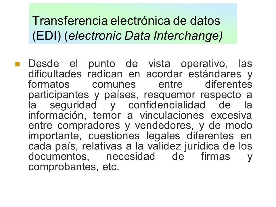 Transferencia electrónica de datos (EDI) (electronic Data Interchange) Desde el punto de vista operativo, las dificultades radican en acordar estándar