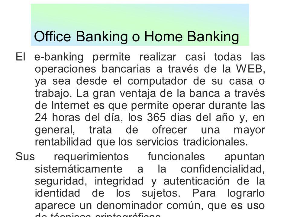 Office Banking o Home Banking El e-banking permite realizar casi todas las operaciones bancarias a través de la WEB, ya sea desde el computador de su