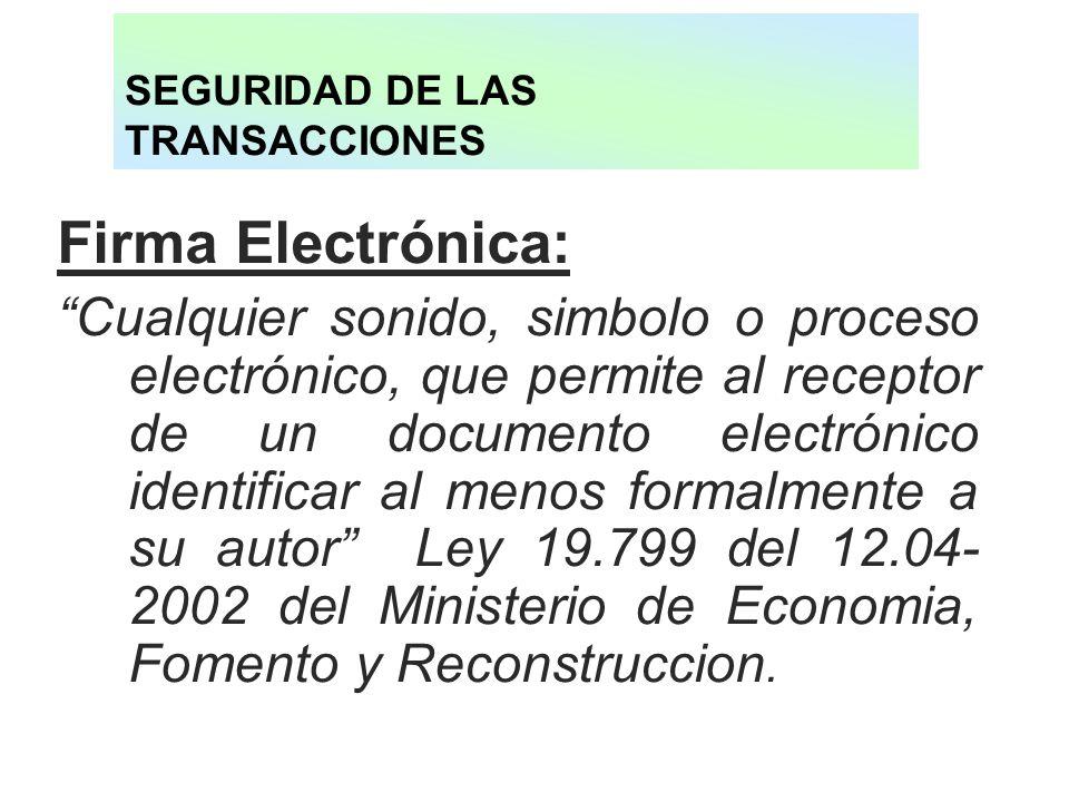 SEGURIDAD DE LAS TRANSACCIONES Firma Electrónica: Cualquier sonido, simbolo o proceso electrónico, que permite al receptor de un documento electrónico