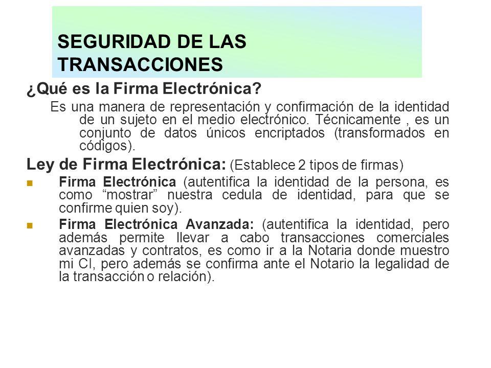 SEGURIDAD DE LAS TRANSACCIONES ¿Qué es la Firma Electrónica? Es una manera de representación y confirmación de la identidad de un sujeto en el medio e