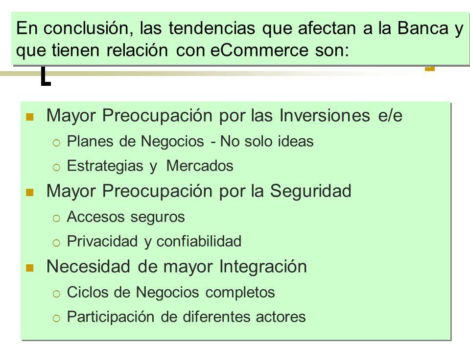 En conclusión, las tendencias que afectan a la Banca y que tienen relación con eCommerce son: Mayor Preocupación por las Inversiones e/e Planes de Neg
