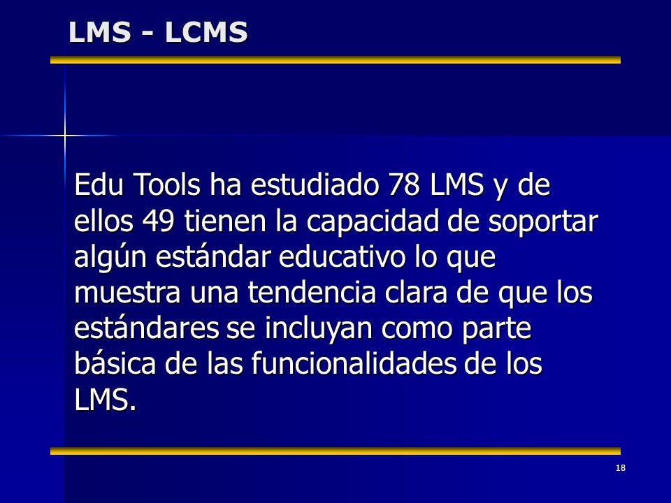 18 LMS - LCMS Edu Tools ha estudiado 78 LMS y de ellos 49 tienen la capacidad de soportar algún estándar educativo lo que muestra una tendencia clara de que los estándares se incluyan como parte básica de las funcionalidades de los LMS.