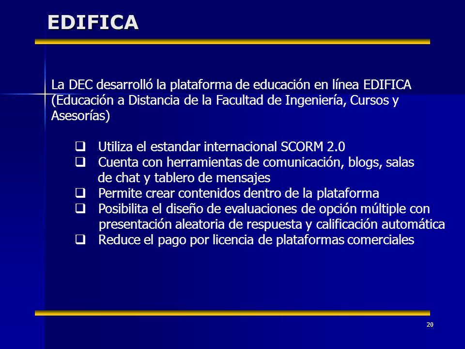 20EDIFICA La DEC desarrolló la plataforma de educación en línea EDIFICA (Educación a Distancia de la Facultad de Ingeniería, Cursos y Asesorías) Utili