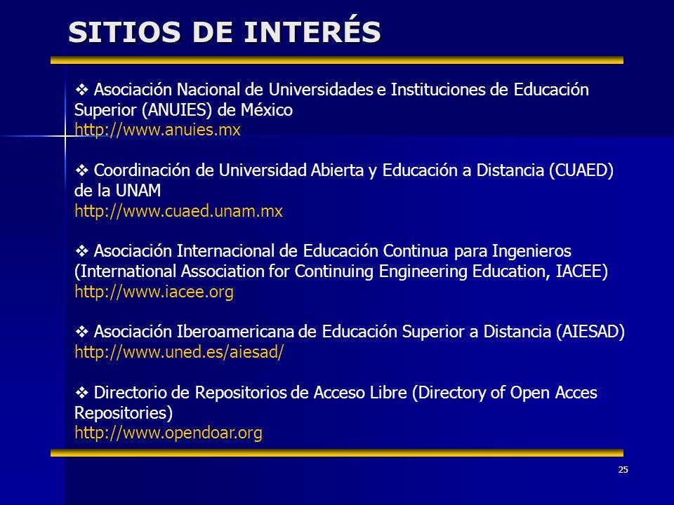 25 SITIOS DE INTERÉS Asociación Nacional de Universidades e Instituciones de Educación Superior (ANUIES) de México http://www.anuies.mx Coordinación d