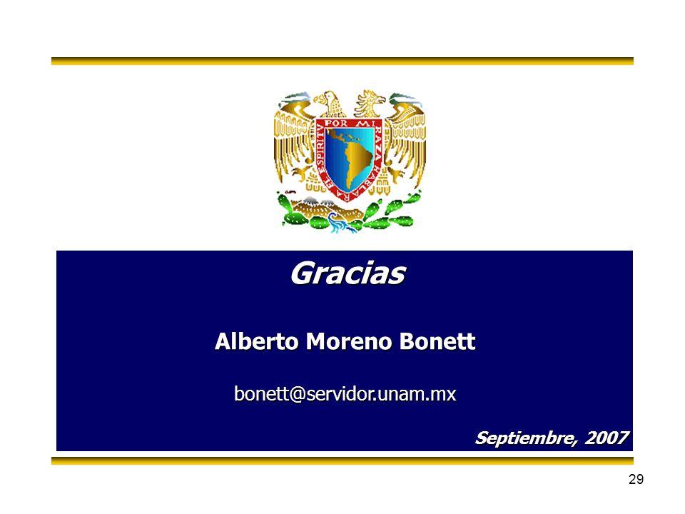 29 Gracias Alberto Moreno Bonett bonett@servidor.unam.mx Septiembre, 2007